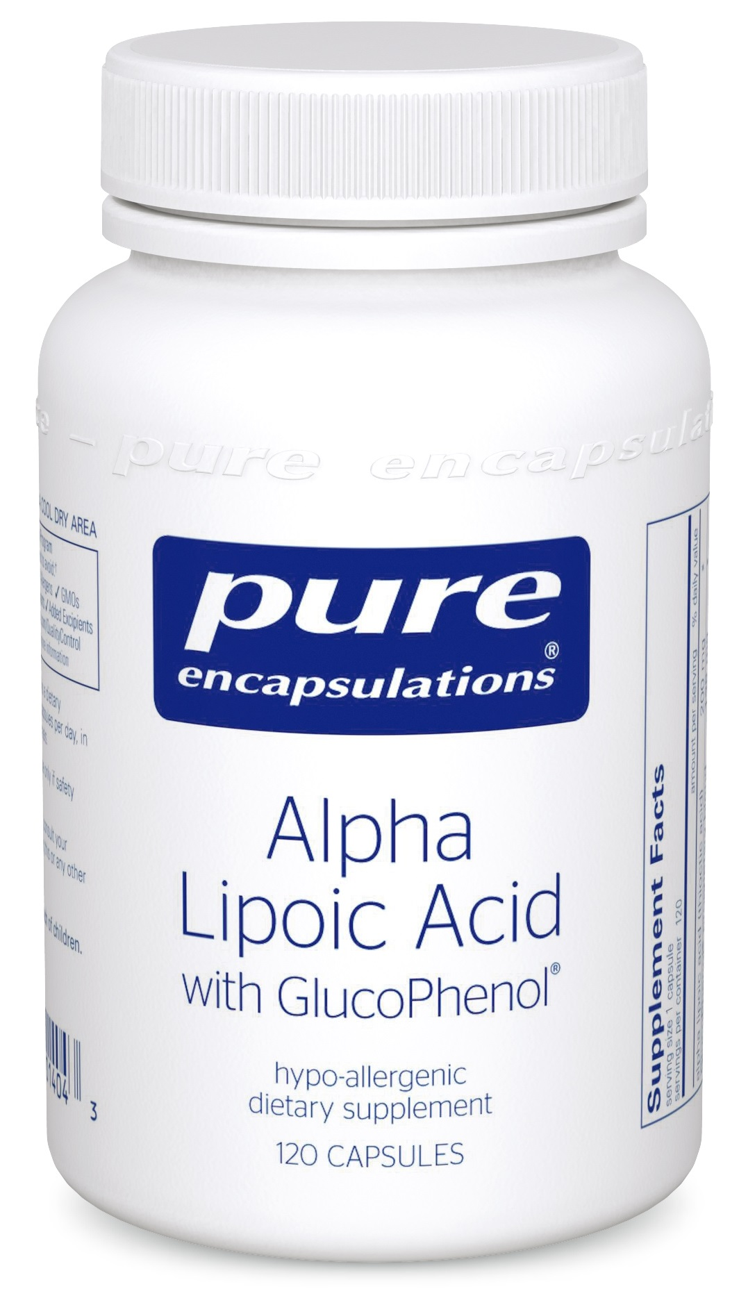 Pure Encapsulations Alpha Lipoic Acid with GlucoPhenol® 120's