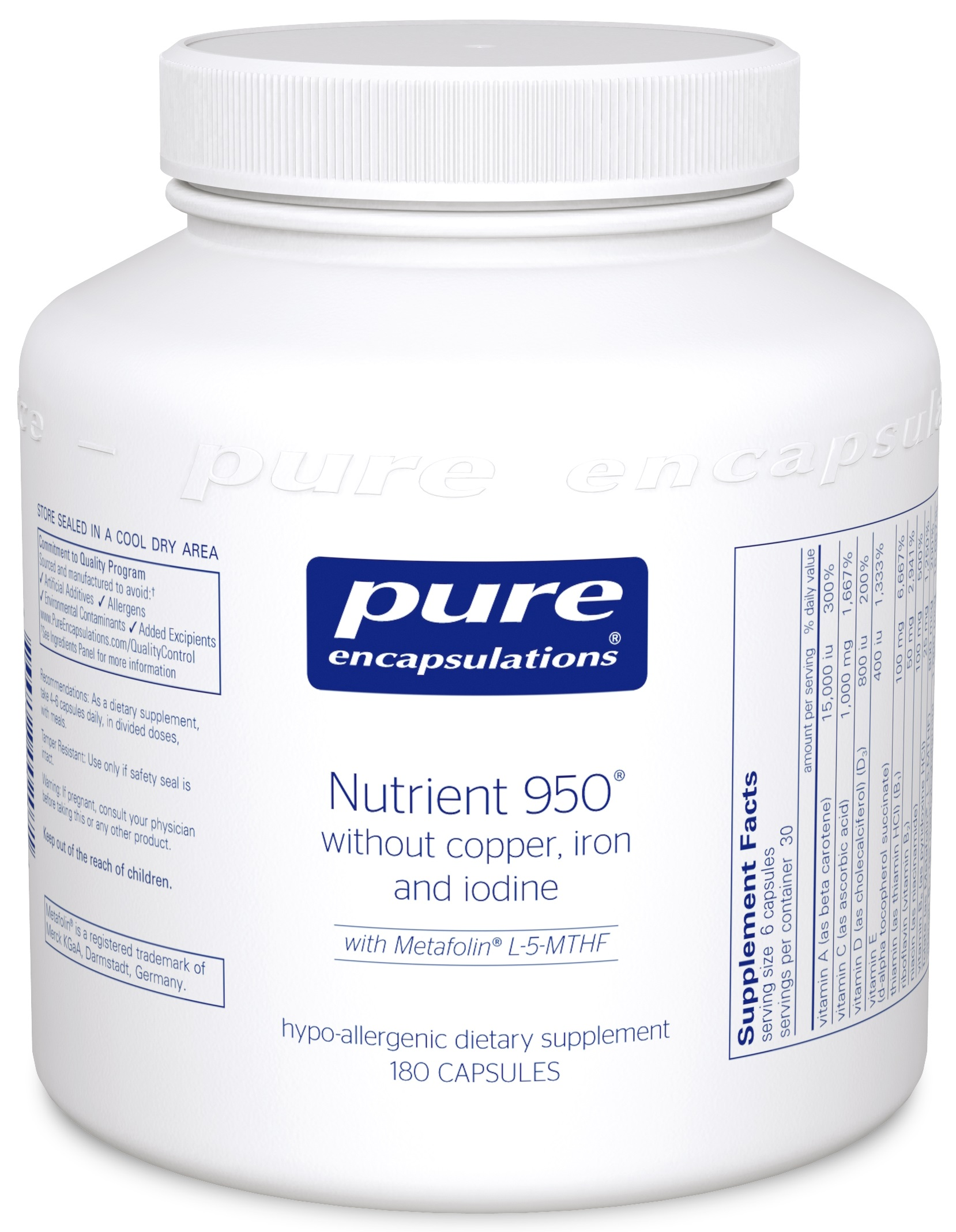 Pure Encapsulations Nutrient 950 without Cu, Fe & I