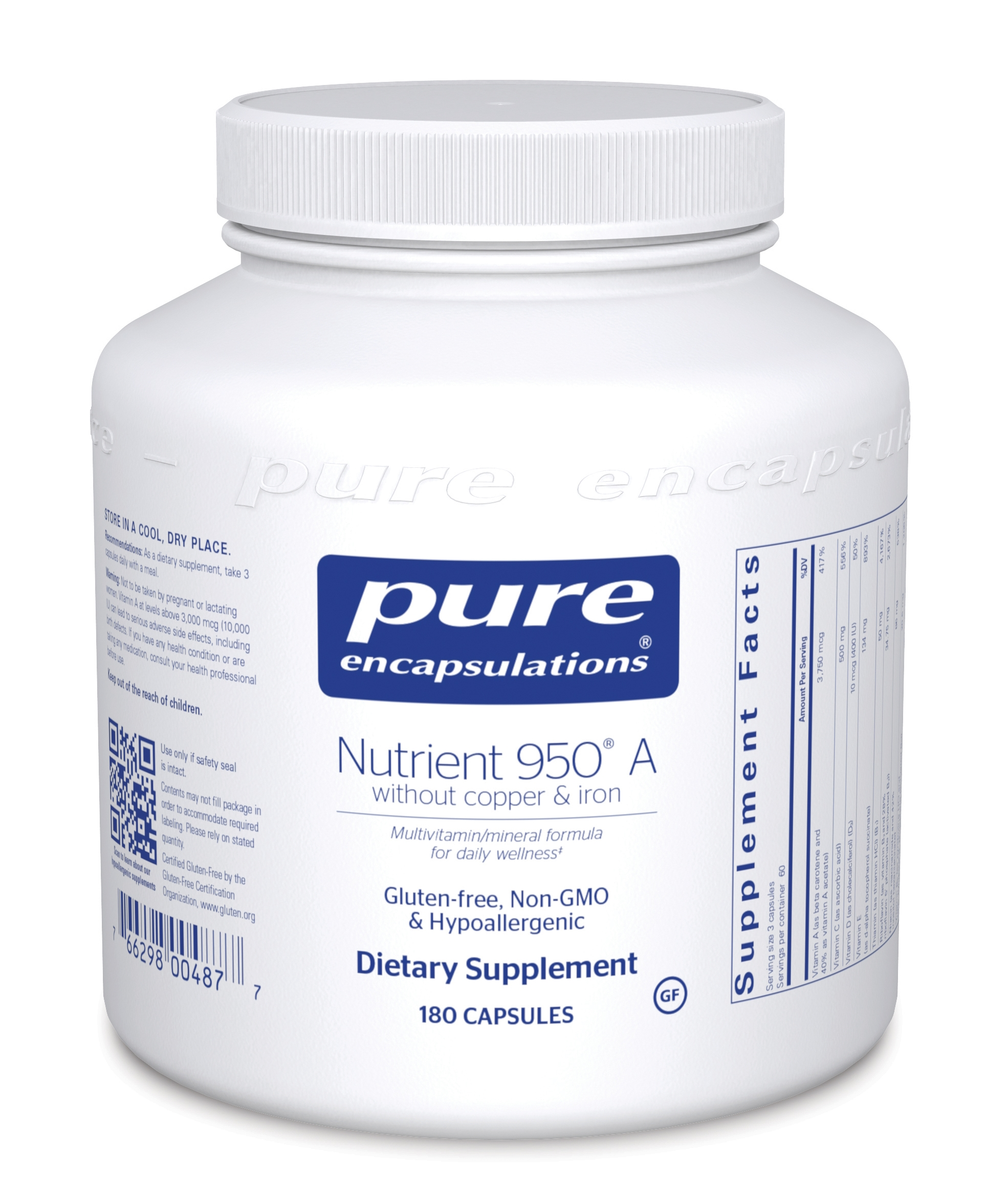 Pure Encapsulations Nutrient 950® without Copper & Iron